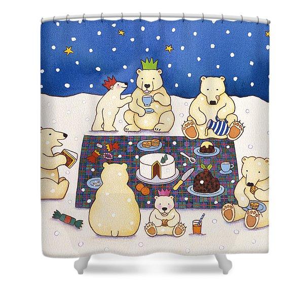 Polar Bear Picnic Shower Curtain