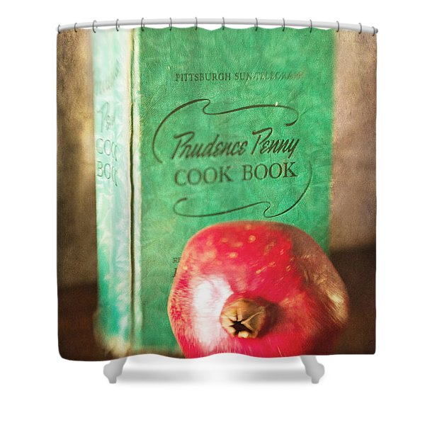 Pomegranate And Vintage Cook Book Still Life Shower Curtain