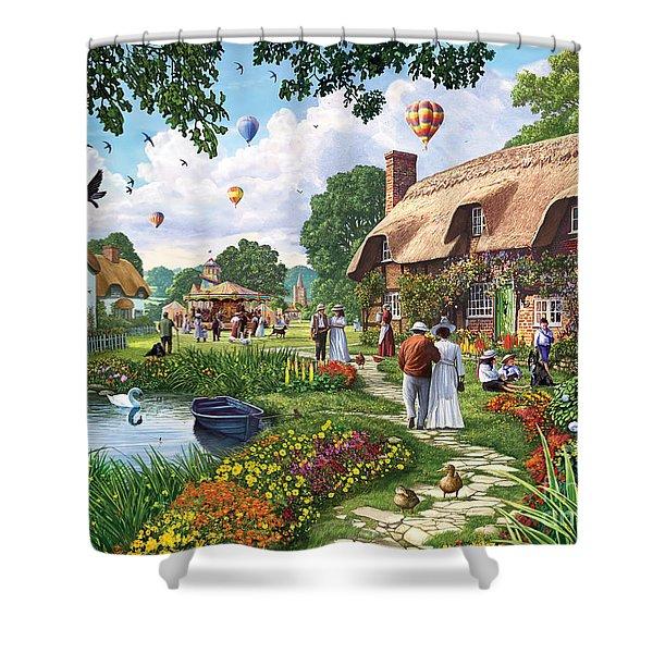 Pond Cottage Shower Curtain