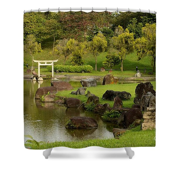 Pond Rocks Grass And Japanese Arch Singapore Shower Curtain