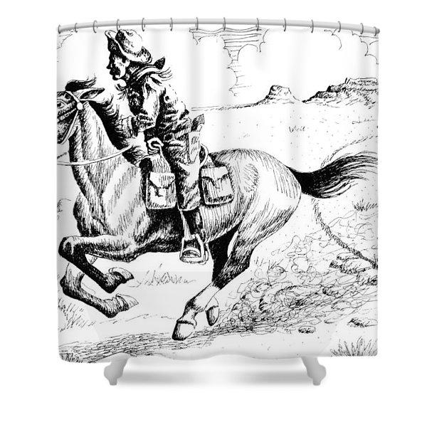Pony Express Rider Shower Curtain