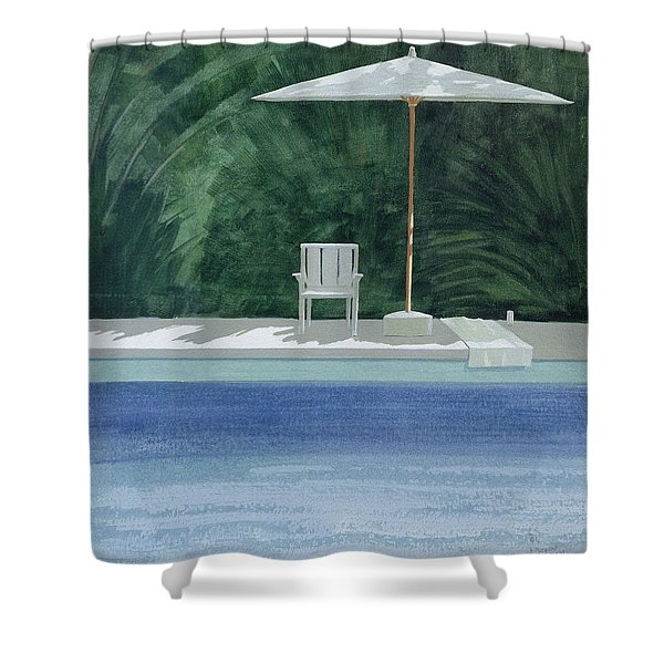 Poolside, 1994 Acrylic On Paper Shower Curtain