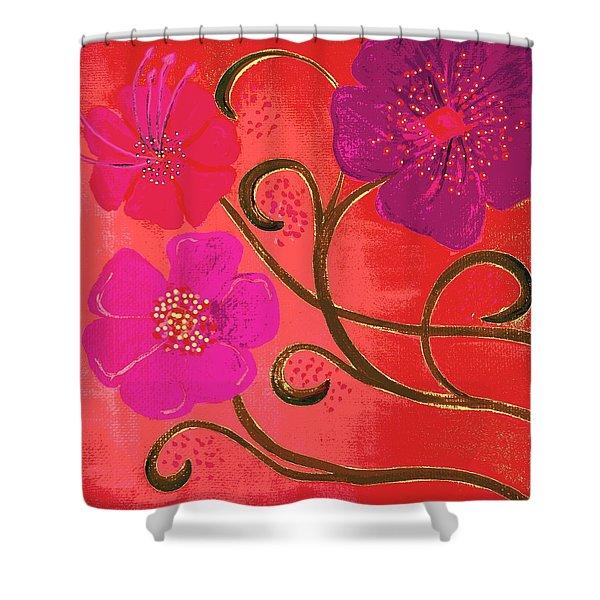 Pop Spring Purple Flowers Shower Curtain