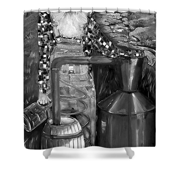 Popcorn Sutton - Black And White - Legendary Shower Curtain