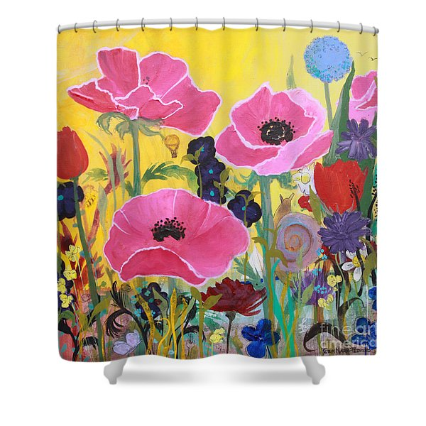 Poppies And Time Traveler Shower Curtain