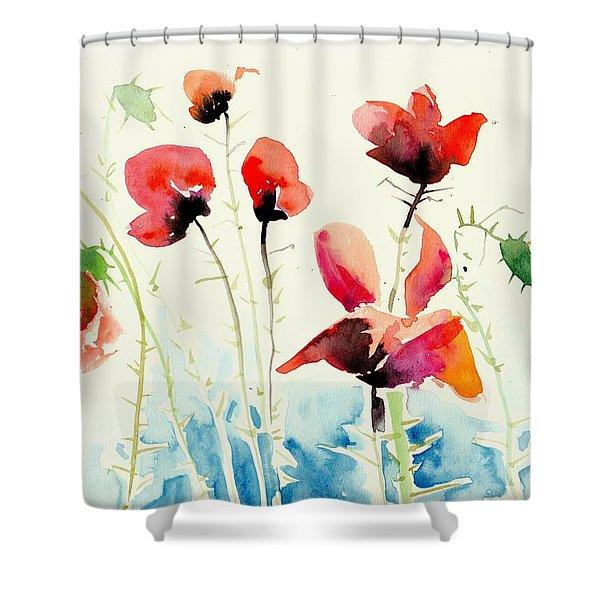 Poppies Field Poppy Watercolor Shower Curtain