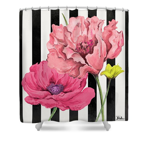 Poppies On Stripes I Shower Curtain