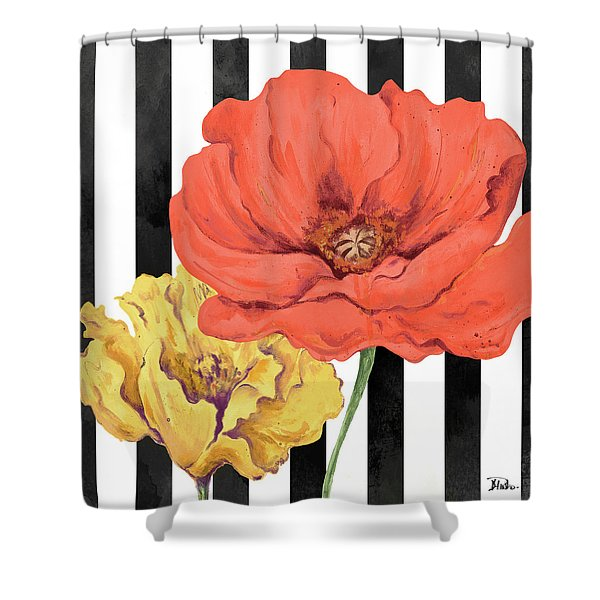 Poppies On Stripes II Shower Curtain