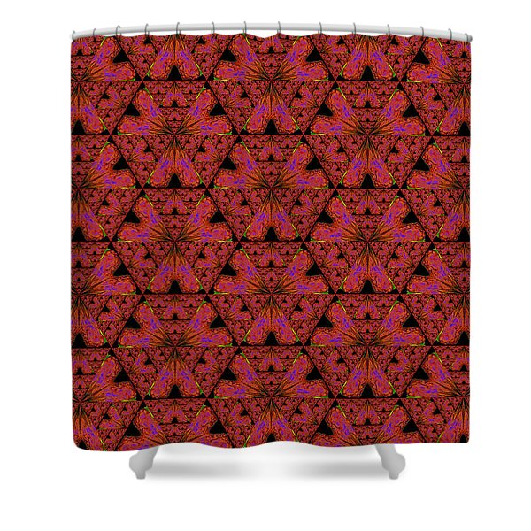 Poppy Sierpinski Triangle Fractal Shower Curtain