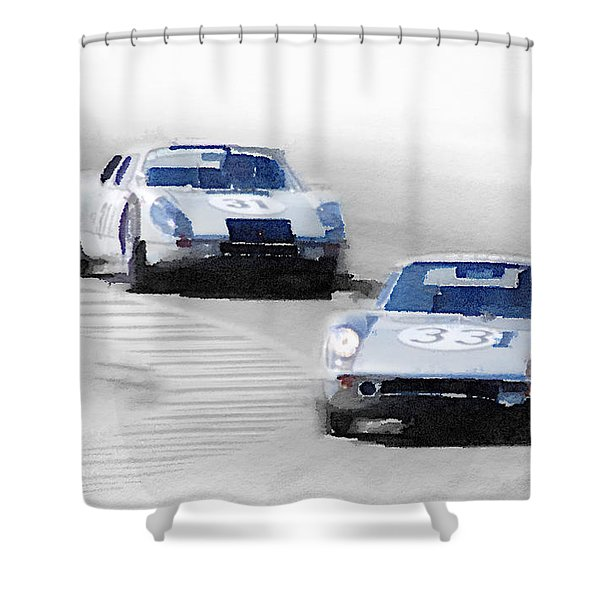 Porsche 904 Racing Watercolor Shower Curtain