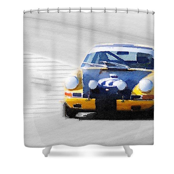 Porsche 911 On Race Track Watercolor Shower Curtain