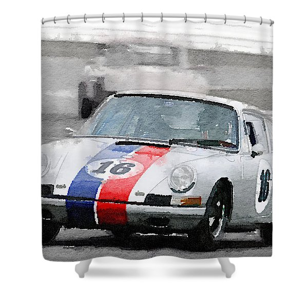Porsche 911 Race In Monterey Watercolor Shower Curtain
