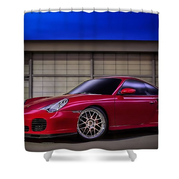 Porsche 911 Twin Turbo Shower Curtain