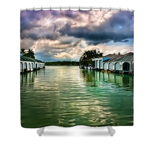 Storm Clouds Over  Port Royal Boathouses In Naples Shower Curtain