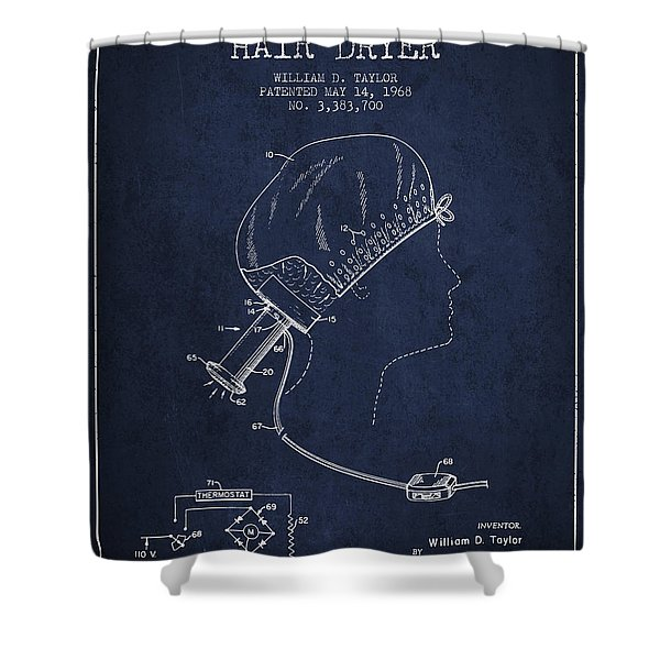 Portable Hair Dryer Patent From 1968 - Navy Blue Shower Curtain