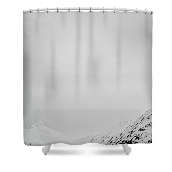 Portage Lake In Fog Shower Curtain