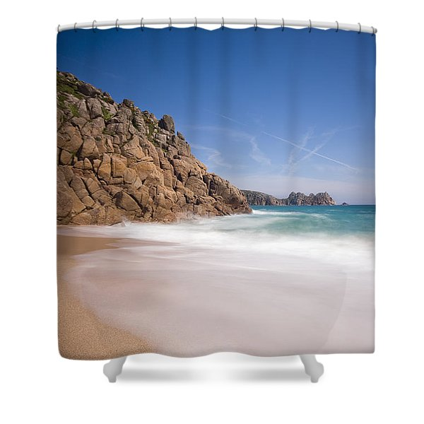 Porthcurno Beach Shower Curtain