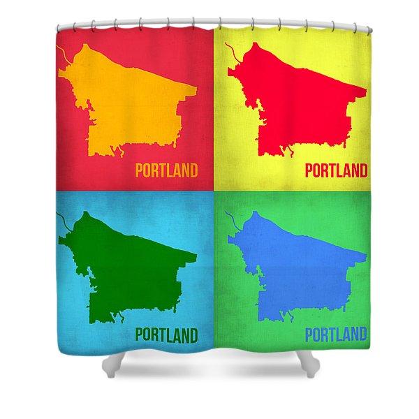 Portland Pop Art Map 1 Shower Curtain