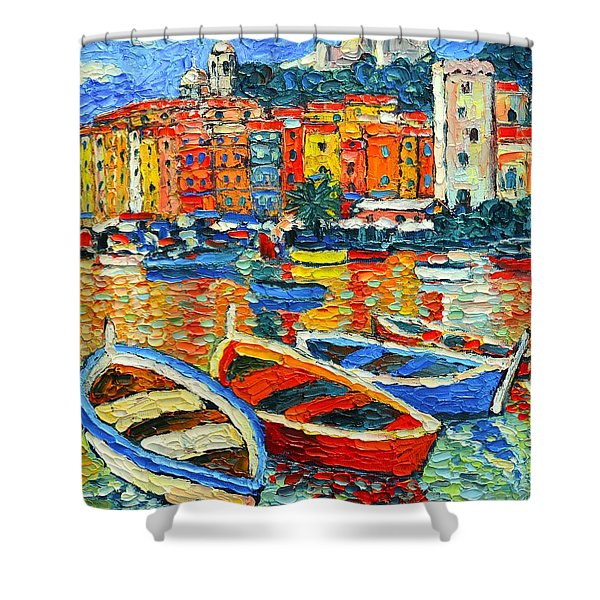 Portovenere Harbor - Italy - Ligurian Riviera - Colorful Boats And Reflections Shower Curtain