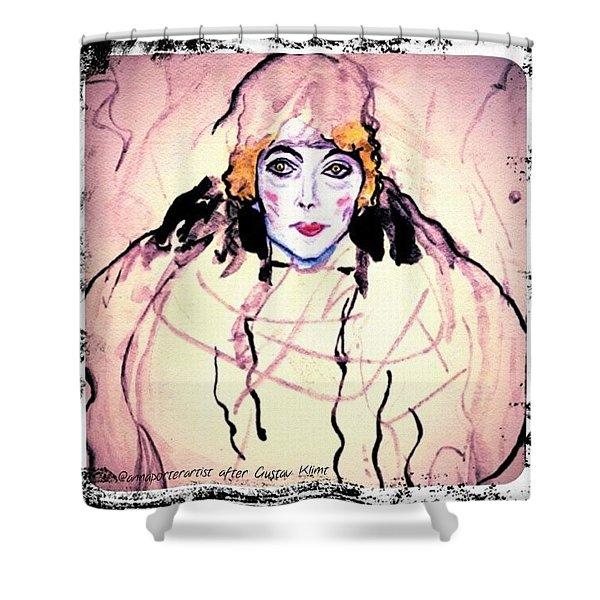 Portrait Of A Lady En Face After Gustav Klimt Shower Curtain