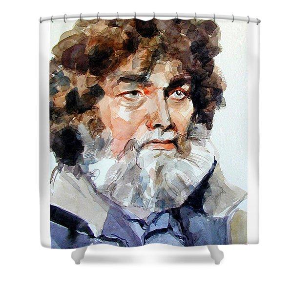 Watercolor Portrait Of A Sailor Shower Curtain