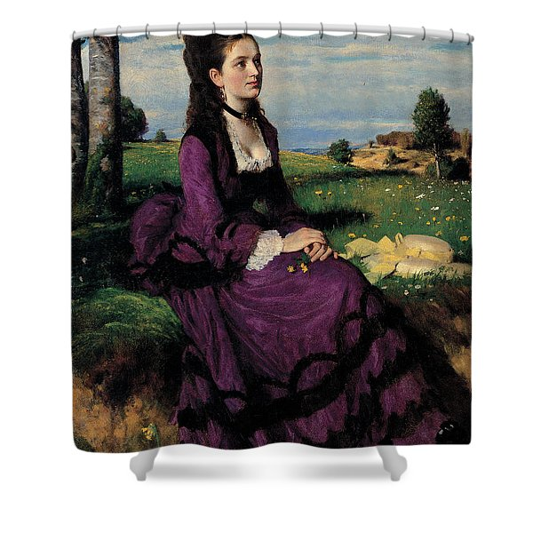 Portrait Of A Woman In Lilac Shower Curtain