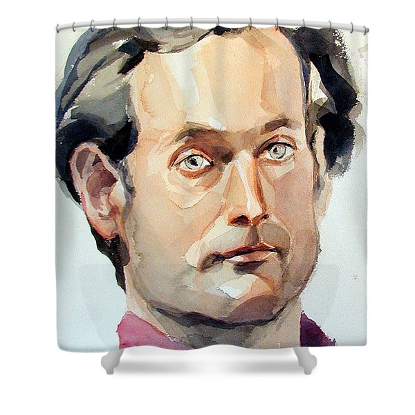 Watercolor Portrait Of A Man With Pale Blue Eyes Shower Curtain