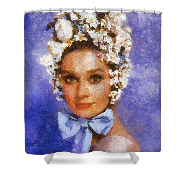 Portrait Of Audrey Hepburn Shower Curtain