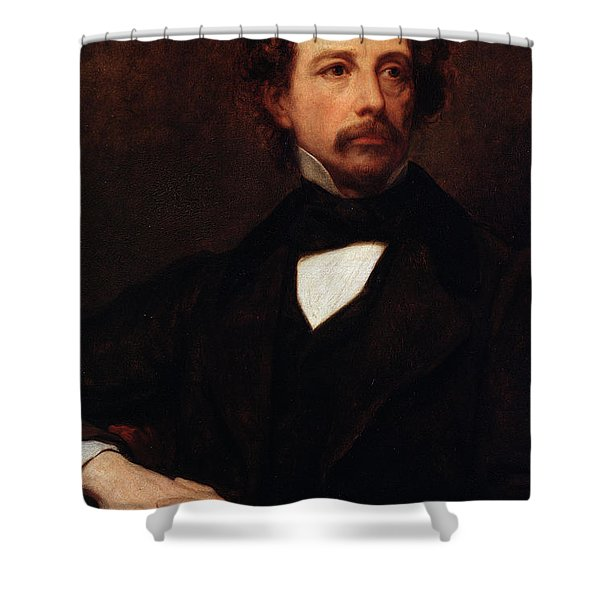 Portrait Of Charles Dickens Shower Curtain