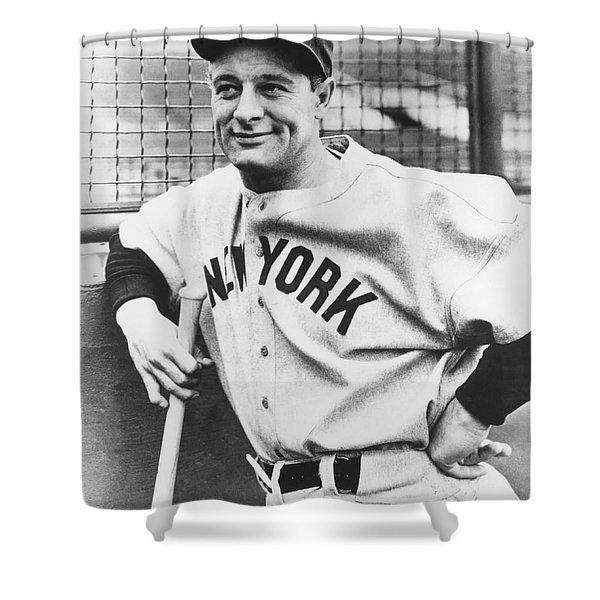 Portrait Of Lou Gehrig Shower Curtain