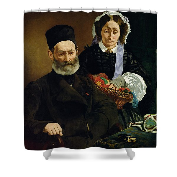 Portrait Of Monsieur And Madame Auguste Manet, 1860 Oil On Canvas Shower Curtain