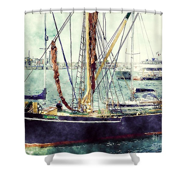 Portsmouth Harbour Boats Shower Curtain
