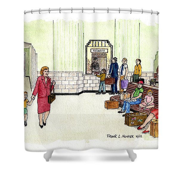 Portsmouth Ohio Train Station Ticket Window Buying A Bag Of Chips1940s Shower Curtain