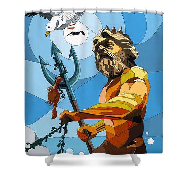 Poseidon - W/hidden Pictures Shower Curtain