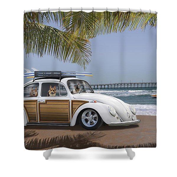 Postcards From Otis - Beach Corgis Shower Curtain