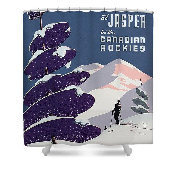 Poster Advertising The Canadian Ski Resort Jasper Shower Curtain