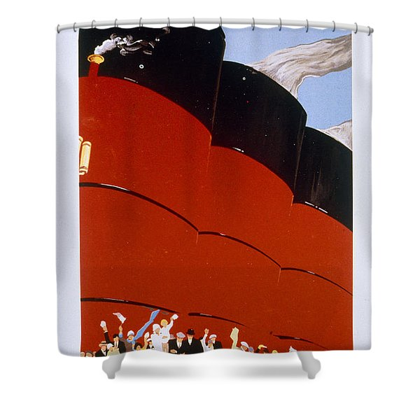 Poster Advertising The Rms Queen Mary Shower Curtain