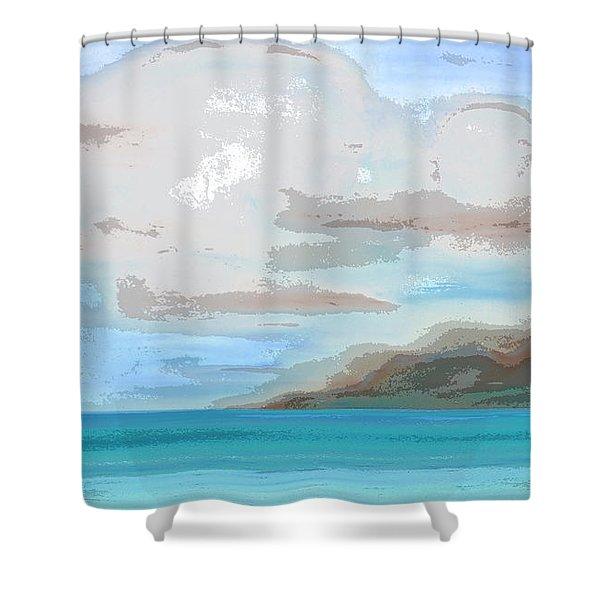 Posterized Landscape Alaska  Shower Curtain