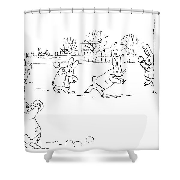 Potter Snowball Fight Shower Curtain