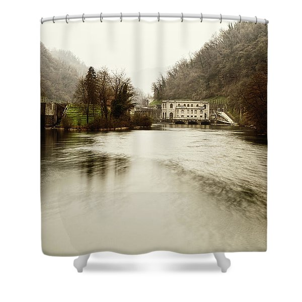 Power Plant On River Shower Curtain