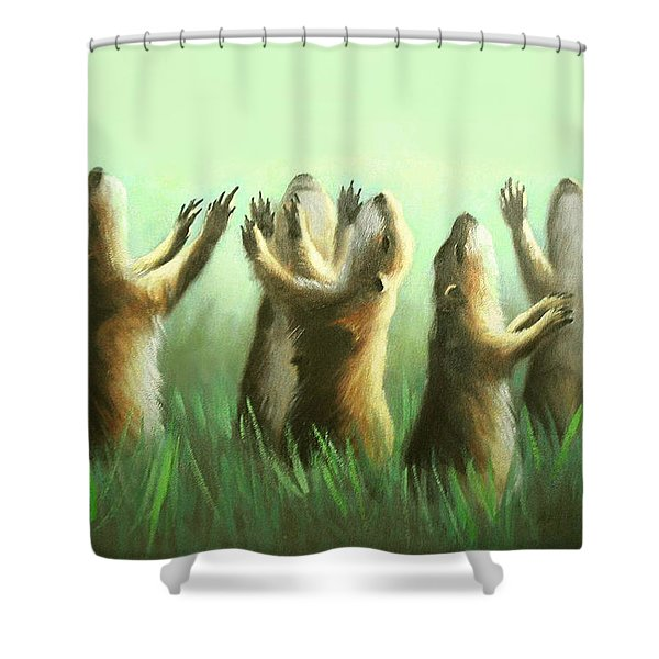 Shower Curtain featuring the painting Praising Prairie Dogs by Anthony Falbo