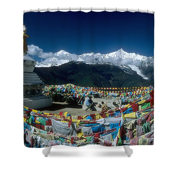Prayer Flags In The Himalayan Mountains Shower Curtain