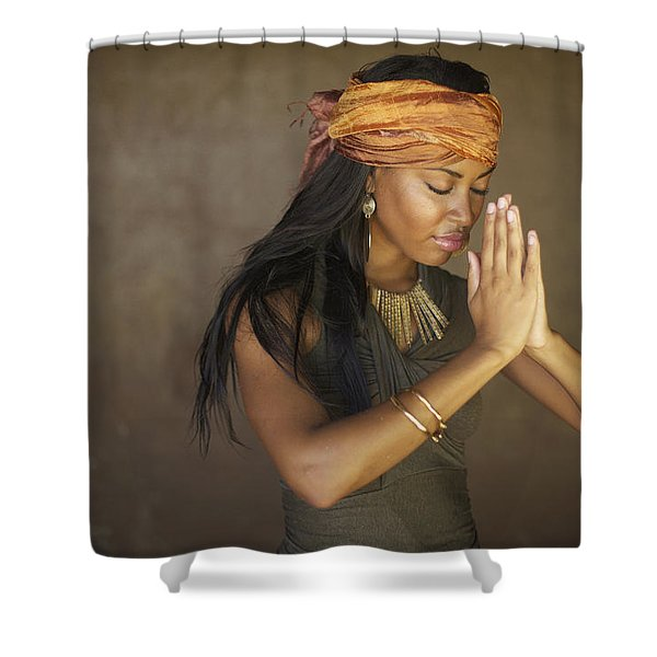 Praying Model Shower Curtain