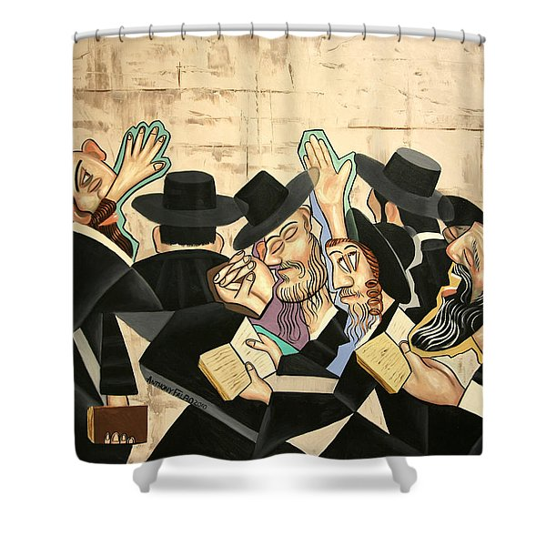 Shower Curtain featuring the painting Praying Rabbis by Anthony Falbo
