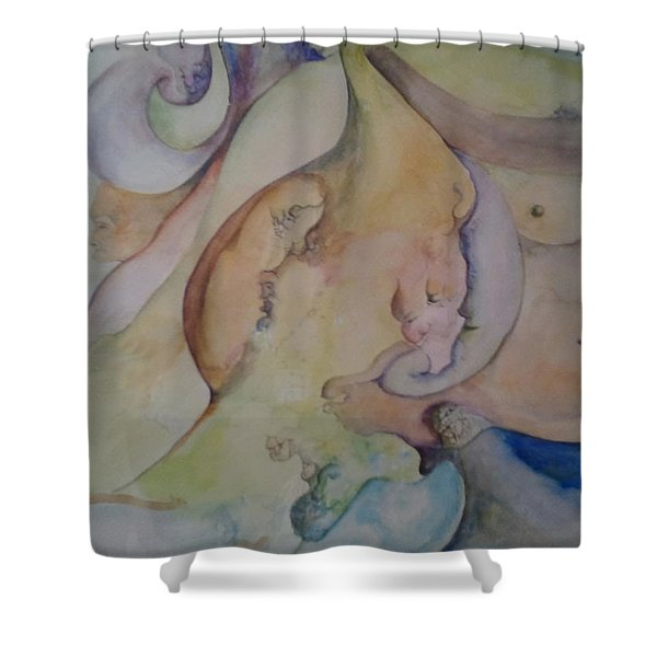 Shower Curtain featuring the painting Pregnant With Desire One by Lynn Buettner