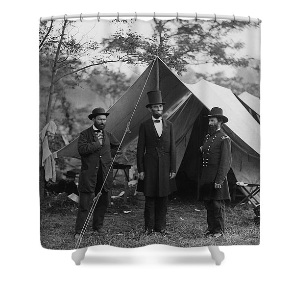 President Lincoln At Antietam Shower Curtain