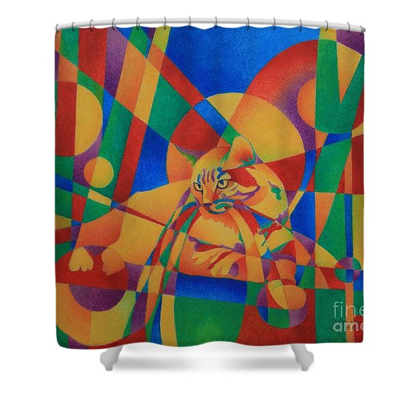 Primary Cat IIi Shower Curtain
