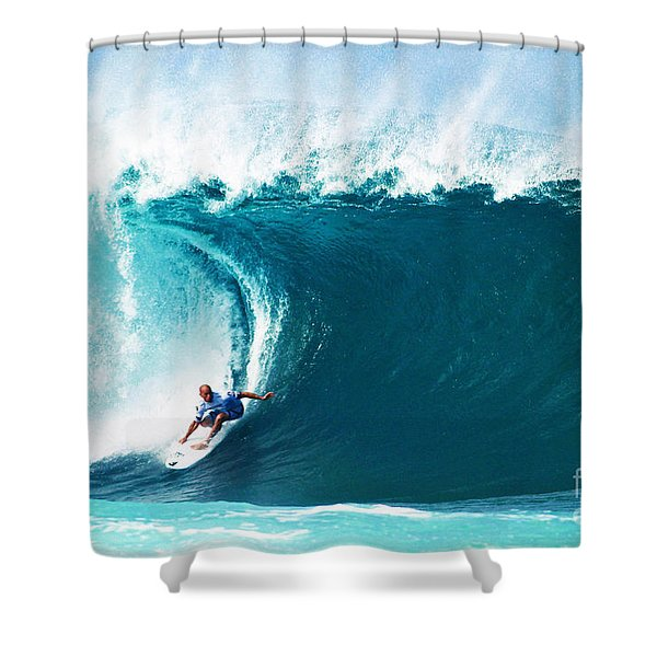 Pro Surfer Kelly Slater Surfing In The Pipeline Masters Contest Shower Curtain