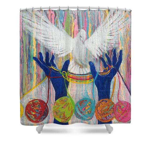 Prophetic Message Sketch 20 What Woman Will Rise Up    Yarn Hands Woven Nest Or Bridge For Dove  Shower Curtain