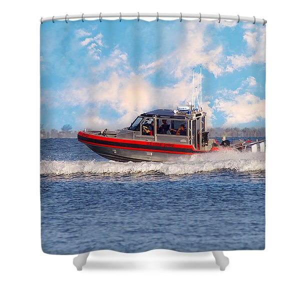 Protecting Our Waters - Coast Guard Shower Curtain